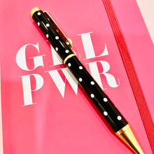 "Load image into Gallery viewer, ""I am Confident"" Black Polka Dot Pen - The Dallas Gordon Collection"