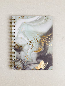 Swirl Girl - Black Gold Marble Splashed Journal - The Dallas Gordon Collection