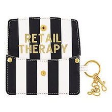 Load image into Gallery viewer, Retail Therapy - Black White Striped Credit Card Pouch - The Dallas Gordon Collection