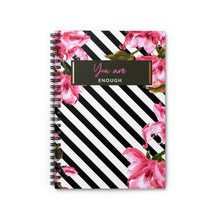 Load image into Gallery viewer, I am enough - DG Journals Collection Floral Print Spiral Journal - The Dallas Gordon Collection