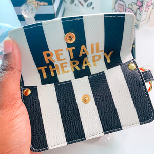 Retail Therapy - Black White Striped Credit Card Pouch - The Dallas Gordon Collection