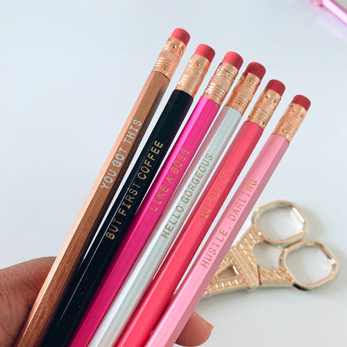 Hello Gorgeous - Multicolored Motivational Pencil Set of 6 - The Dallas Gordon Collection