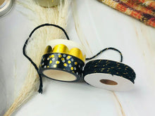 Load image into Gallery viewer, Holiday Cheer - Black and Gold Twine and Washi Tape Set of 3 - The Dallas Gordon Collection
