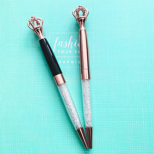 Royal - Black and Rose Gold Crown Ballpoint Pen Set - The Dallas Gordon Collection