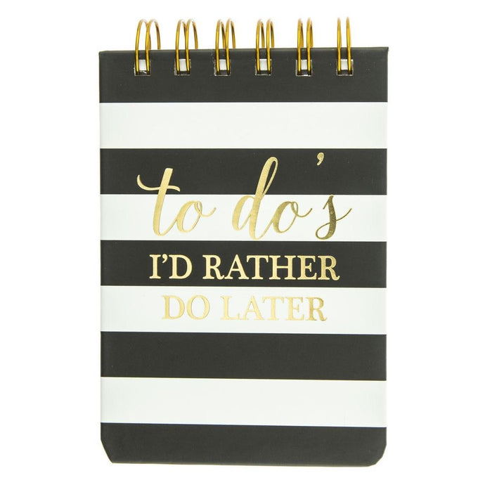 I'd Rather Do it Later - Lined Black Stripes Petite Notebook - The Dallas Gordon Collection