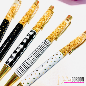 Get It Done - Black, White and Gold Patterned Pen Set - The Dallas Gordon Collection