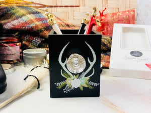 Boho Antler Pen Holder with Crystal Knob - Closeout - The Dallas Gordon Collection