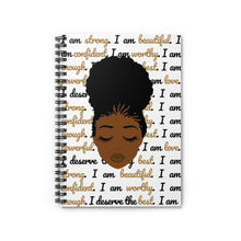 Load image into Gallery viewer, I am worthy - Black Beauty Affirmation Spiral Notebook - The Dallas Gordon Collection