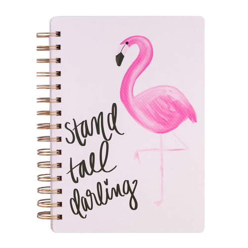 Stand Tall Darling - Pink Flamingo Gold Spiral Journal - The Dallas Gordon Collection