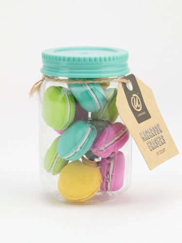 You're So Sweet - Colorful Macaron Erasers Set of 12 with Mason Jar - The Dallas Gordon Collection