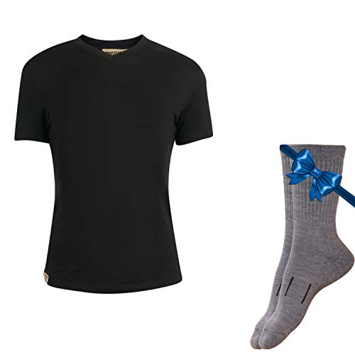 100% NZ Organic Merino Wool Lightweight Women's Base Layer Thermal Short Sleeve T-Shirt + Merino Wool Hiking Socks Bundle