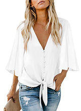 Load image into Gallery viewer, HOTAPEI Women's Summer Deep V Neck Flutter Sleeve Button Down Front Tie Casual Tops Shirts and Blouses