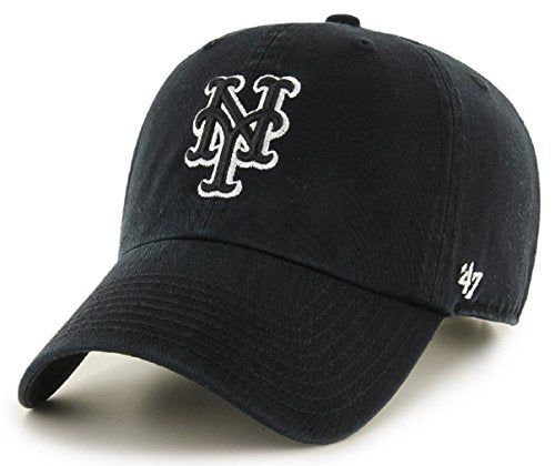 '47 Brand New York Mets Black & White CleanUp Hat