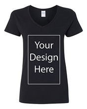 Load image into Gallery viewer, V-Neck Ladies Add Your Own Text Design Custom Personalized T-Shirt Tee