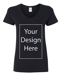 V-Neck Ladies Add Your Own Text Design Custom Personalized T-Shirt Tee