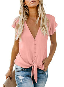 HOTAPEI Women's Summer Deep V Neck Flutter Sleeve Button Down Front Tie Casual Tops Shirts and Blouses