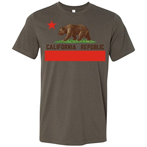 California Republic Bear Flag Brown Text Asst Colors Mens Fitted T-Shirttee
