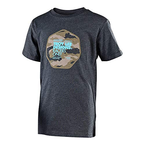 Troy Lee Designs Youth Kids Race Camo T-Shirt (Large, Heather Charcoal)