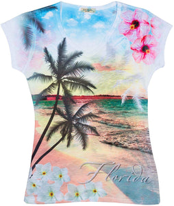 Sweet Gisele Unique Women's Florida Tropical Shirt Sleeved Tshirt Comfortable & Flattering Fit. Designed in The U.S.A.