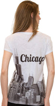 Load image into Gallery viewer, Sweet Gisele Chicago T Shirts for Women | V Neck | Skyline Design w/Rhinestones | Grey or White