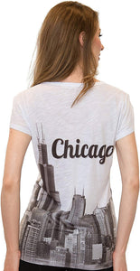 Sweet Gisele Chicago T Shirts for Women | V Neck | Skyline Design w/Rhinestones | Grey or White