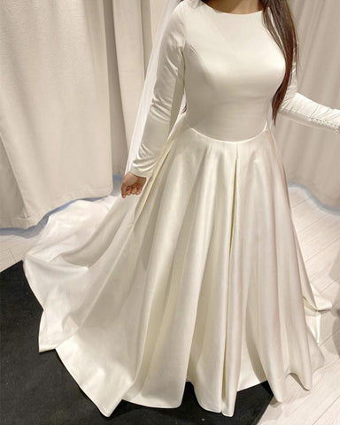 Modest Long Sleeves Wedding Gowns