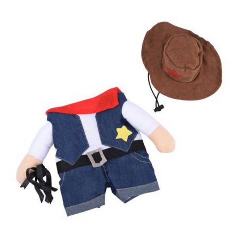 "Looking for some fun clothes for your pet? Say no more. This cowboy suit is perfect for a memorable photoshoot, a special occasion like Halloween or just because ""why not?""."