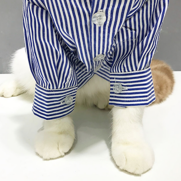 Cat Striped Cotton Shirt