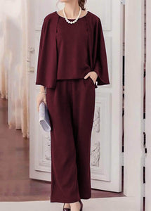 Fifth Avenue Batwimg Sleeve Top and Pants 2 Piece Set TPS65 - Maroon