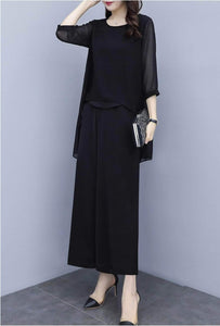 Fifth Avenue Chiffon Overlay Sleeve Top and Pants 2 Piece Set TPS118 - Black