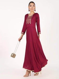 Fifth Avenue Clothing WOMK13 Lace Detail Kurti Dress - Maroon