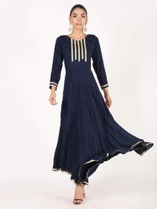 Fifth Avenue Clothing WOMK13 Lace Detail Kurti Dress - Navy Blue