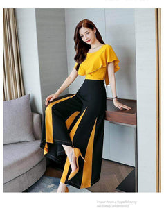 Fifth Avenue Contrast Panel Top and Pants 2 Piece Set TPS89 - Black and Yellow