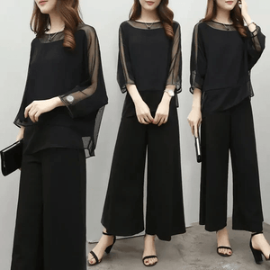 Fifth Avenue Mesh Overlay Sleeve Top and Pants 2 Piece Set TPS118 - Black