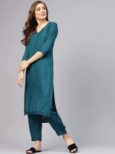 Fifth Avenue Women's TPS150 Stitch Detail Kurti and Pants Set - Teal