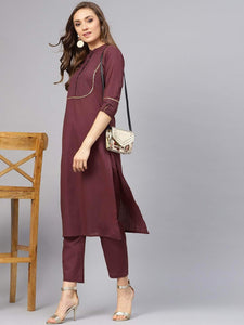 Fifth Avenue Women's TPS169 Stitch and Lace Detail Kurti and Pants Set - Maroon