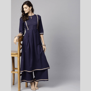 Fifth Avenue Women's TPS171 Stitch and Lace Detail Kurti and Palazzo Set - Navy Blue