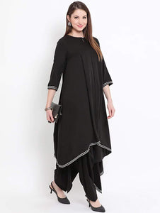 Fifth Avenue Women's TPS205 Gotta Lace Asymmetric Kurti and Pants Set - Black