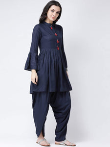 Fifth Avenue Women's TPS230 Tassel Detail Kurti and Dhoti Pants Set - Navy Blue