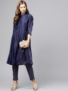 Fifth Avenue Women's TPS271 Print Panel Kurti and Pants Set - Navy Blue