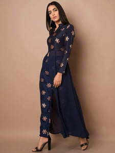 Fifth Avenue Women's TPS303 Blended Silk Printed Kurta and Pants Set - Navy Blue