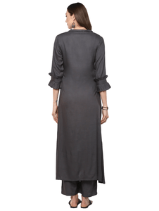 Fifth Avenue Women's TPS310 Ruffle Detail Kurta and Pants Set - Charcoal