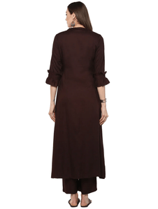 Fifth Avenue Women's TPS310 Ruffle Detail Kurta and Pants Set - Maroonish Brown