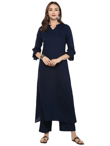 Fifth Avenue Women's TPS310 Ruffle Detail Kurta and Pants Set - Navy Blue