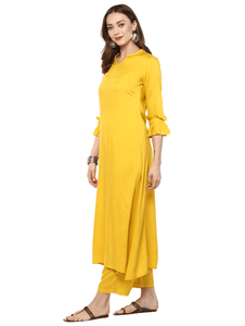 Fifth Avenue Women's TPS310 Ruffle Detail Kurta and Pants Set - Yellow