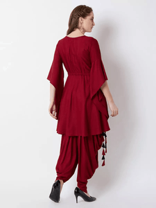 Fifth Avenue Women's TPS372 Tassel Detail Kurti and Pants Set - Maroon