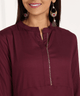 Fifth Avenue Women's TPS374 Lace Detail Kurta and Pants Set - Maroon