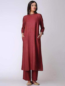 Fifth Avenue Women's TPS379 Stitch Detail Kurta and Pants Set - Maroon