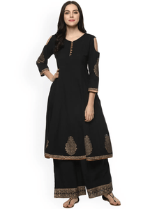Fifth Avenue Women's TPS404 Print Border Cold Shoulder Kurti and Pants Set - Black