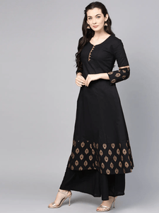 Fifth Avenue Women's TPS405 Print Border Shoulder Kurti and Pants Set - Black